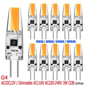 1-10X 3W G4 COB LED Leuchtmittel AC/DC12V Silikon Glühbirne Warmweiß Birne Lampe