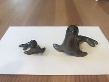 Retired Hagen Renaker Ceramic Miniature Seal Mom and Pup Perfect Condition!