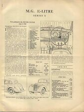 MG 1¼ Litre Series Y Type Saloon Motor Trader Service Data No. 144 1948