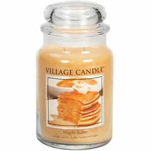 Village Candle Maple Butter 21.25 oz Glass Jar Scented Candle, Large
