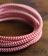 Italian coloured fabric lighting cable flex: Red & White -retro- sold per metre