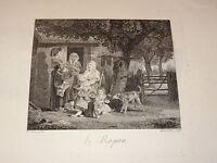 d'ap Jean-Louis de MARNE (1752-1829) GRAVURE XVIII SCENE CHAMPETRE REPAS DEVISME