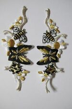 #3430 Lot 2Pcs Bee,Ladybug,Butterfly w/Flower Embroidery Iron On Applique Patch