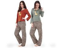 Ladies Animal Print Long Sleeve Womens Pyjama Set 100% Cotton PJ's Nightwear