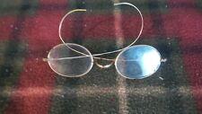 Vintage Non Prescription Eye Glasses Gold Colored Wire Rim Long Oval Lens