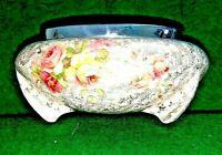 A. J. Wilkinson Celtic Rose Porcelain Footed Bowl Roses w/ Metal Rim