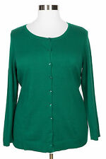 CATHERINES WOMEN'S GREEN LONG SLEEVE BUTTON CARDIGAN SWEATER PLUS Sz 1X 18/20W
