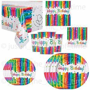 RAINBOW RIBBON Birthday Colour Tableware Gay Pride Adults Children Kid BBQ Party