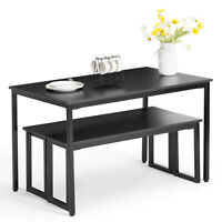 3 Piece Dining Set Black Wood Table And 2 Bench Chairs Rectangle Breakfast Nook