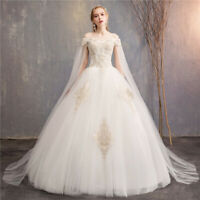 Ball Gown Wedding Dress Lace Crystals Lace Up White Bridal Gown with Cape Sleeve