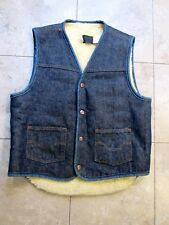 Vintage Sears Roebucks Mens Medium Sherpa Shearling Denim Jean Vest
