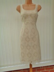 LK BENNETT IVORY LACE CREAM LINING PENCIL BODYCON MIDI DRESS 8 EXCELLENT