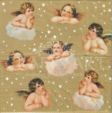 4 Single paper decoupage napkins. Christmas, Gold, Angels, angel, stars  -X108
