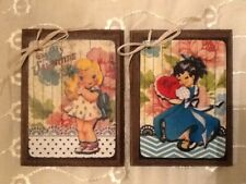 *New* 5 Handcrafted Wooden Vintage Valentine Day Ornaments / Hang Tags SetJ1