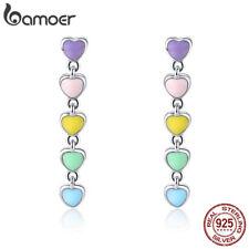 BAMOER 925 Sterling Silver Enamel Earrings Rainbow Heart Dangle Women Jewellry