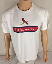 Vtg St Louis Cardinals Red Means Go T-shirt Large SGA Coca Cola Dominos Pizza
