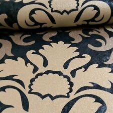 P&S CARAT DAMASK GLITTER GOLD & BLACK WALLPAPER NEW FEATURE WALL DECOR FREE P+P