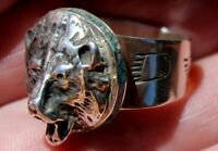 Eugene Gruber Navajo Sterling Silver & Turquoise Stone Inlay BEAR Ring Size 8