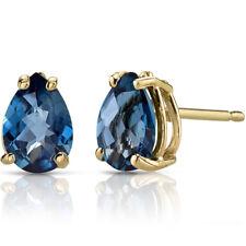 14K Yellow Gold 1.2 Ct London Blue Topaz Stud Earrings Pear Cut 7x5mm