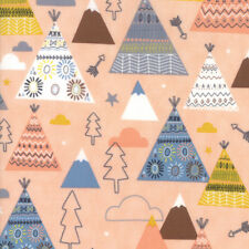 Wild and Free 35312 14 Teepees Moda Fabric by the 1/2 yard on Pink
