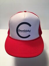Trucker Baseball Cap Red & White Mesh W/Consolidated Bearings Company on front