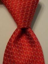 HOLLAND & SHERRY Men's 100% Silk Necktie USA Designer Geometric Red/Pink EUC