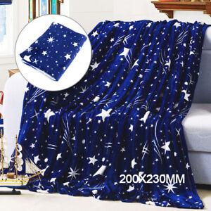 Large Soft Warm Fleece Cuddly Star Fur Throw Sofa Double King Bed Blanket UK