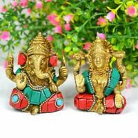 LAXMI LAKSHMI GANESHA GANPATI Brass Statue Hindu God Idol Office Home Decor