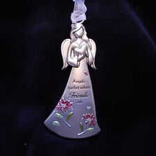 """NEW Pewter """"Angels gather where FRIENDS are"""" Hanging Angel from Ganz"""