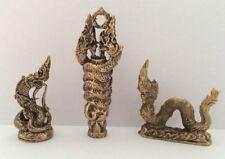 LOT 3 statuette figurine laiton amulette animal DRAGON Talisman Cambodge d3