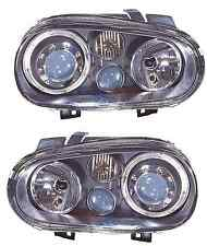 VW GOLF MK4 NEW BLACK ANGEL EYE HEADLAMPS HEADLIGHTS PAIR WITH FOG LAMP