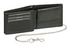 Geldbörse mit Chrom-Kette und Klappe LEAS in Echt-Leder im Querformat, schwarz