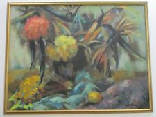 ROSE TAYLOR PAINTING SIGNED ABSTRACT FLORAL EXPRESSIONISM MODERNISM 1960'S VNTG