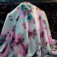 Italian fashion brand authentic pure mulberry silk satin fabric. 205 x 140 m.