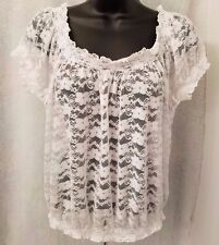 Aeropostale NWT Woman's White Sheer Lace Floral Shirt Size XS
