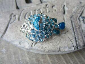 SWAROVSKI Brand SWAN Signed CRYSTAL & Enamel Puffer BLUE FISH PIN Brooch