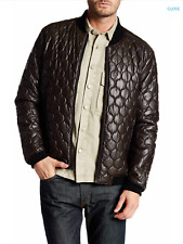 NEW Faux Leather Quilted Bomber Jacket BROWN Sz L  Levi's $195