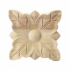 1 StüCke Holz Geschnitzte Quadratische Ecke Blume Onlay Applique Unlackiert O2S9