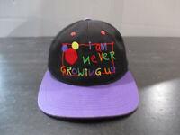 VINTAGE Disney Hat Cap Black Purple Mickey Mouse Never Grow Up Kids Boys 90s