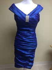 NWT Xscape Woman Royal Bright Blue Off Shoulder Size 4 Midi bandage Ruched Dress