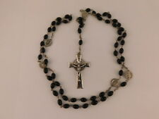 ONYX STERLING ROSARY BEADS CROSS PENDANT NECKLACE FATIMA IMMACULATE HEART MARY