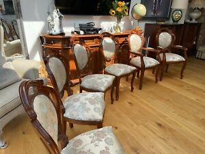 """Italian Reproduction Dinning Table (80"""" x 44"""") & 6 Chairs: 4 Chairs & 2 Carvers"""