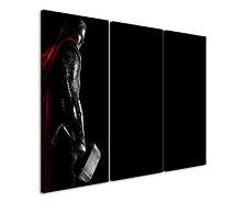 Thor Hammer 3x90x40cm 3tlg Leinwandbild Keilrahmen Fantasy Art