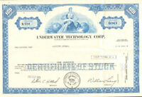 Underwater Technology Corp > 1972 New York share stock certificate