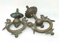 Antique Old Solid Brass Made Door Pull Handle Knocker Peacock Figure Heavy MP