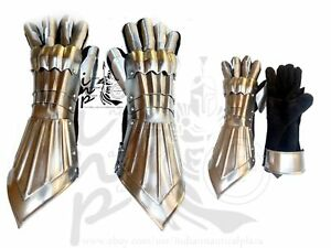 Medieval Knight Armor Pair Crusader Gauntlet Gloves With Accents Silver Steel