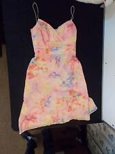 Anne Klein Multi-Color Sundress 100% Silk Spaghetti Strap Lined 10 Ruched Pastel