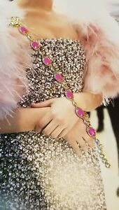 Kendra Scott Pink Magenta Gale Ahni Gold Bracelet Rare