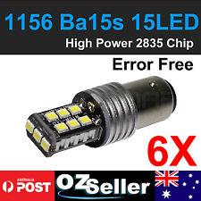 6x P21W 1156 BA15S Car White 2835 15-LED Turn Signal Backup Reverse Light Bulbs
