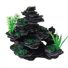 AQUARIUM FISH TANK ornamento decorazione-piccole rocce con piante di plastica